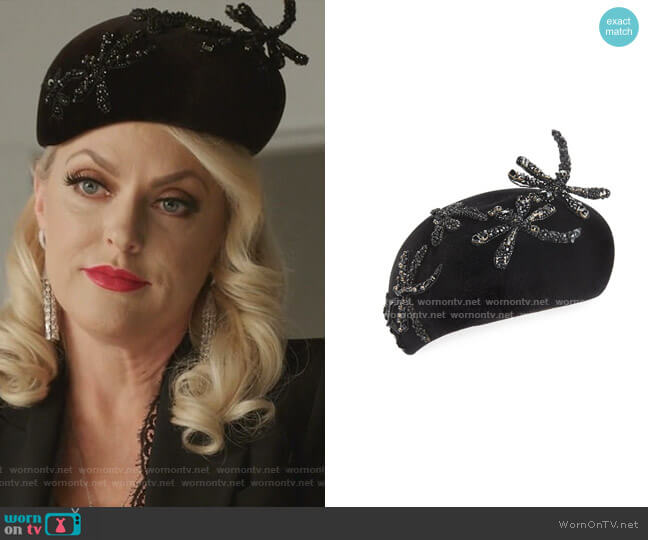 Beret with Beaded Dragonflies by Philip Treacy worn by Alexis Carrington (Elaine Hendrix) on Dynasty