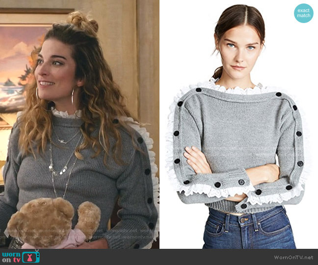 Lace Trim Sweater by Philosophy di Lorenzo Serafini worn by Alexis Rose (Annie Murphy) on Schitts Creek