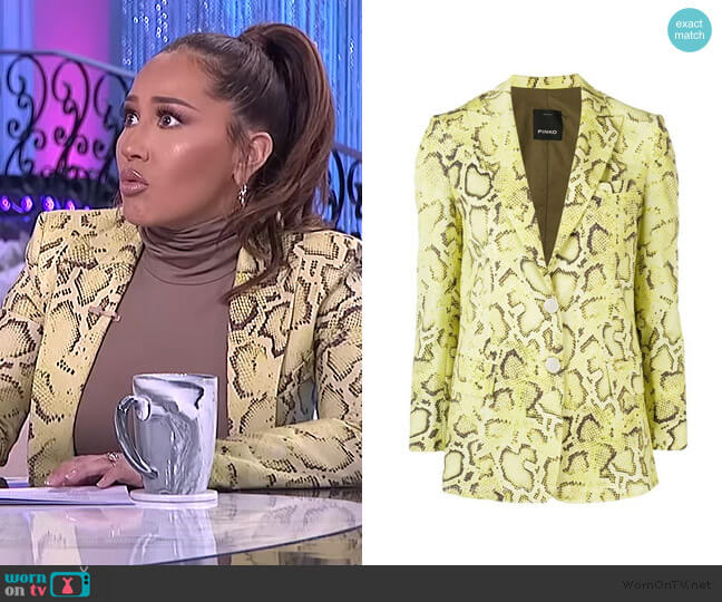 Snakeskin Effect Blazer by Pinko worn by Adrienne Houghton  on The Real