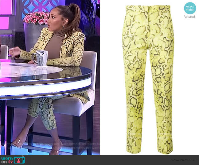 Snakeskin Print Trousers by Pinko worn by Adrienne Houghton  on The Real