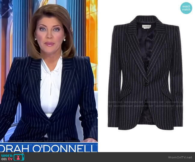 Pinstripe Wool Blazer by Alexander Mcqueen worn by Norah O'Donnell  on CBS Evening News