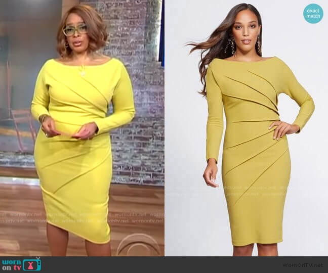 Pleated Sheath Dress - Gabrielle Union Collection by New York & Company worn by Gayle King  on CBS This Morning