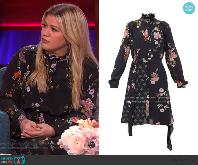 Jude floral & star-print Shirtdress by Preen Line worn by Kelly Clarkson  on The Kelly Clarkson Show