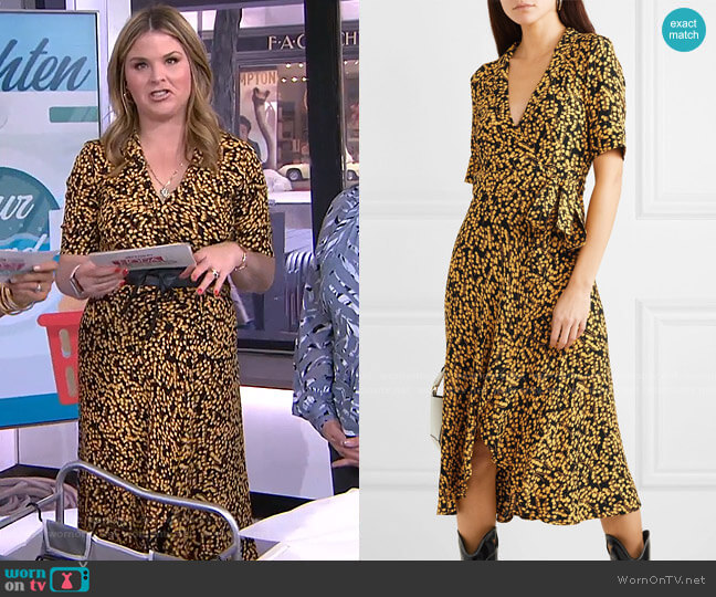 Printed Crepe Dress by Ganni worn by Jenna Bush Hager  on Today