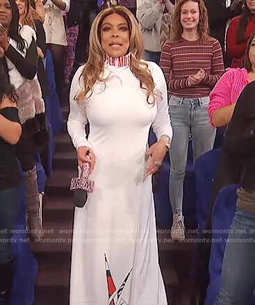Wendy's white Pyer Moss logo turtleneck dress on The Wendy Williams Show