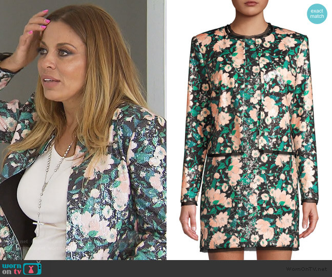 Abbie Sequin Floral Jacket by Rachel Zoe worn by Dolores Catania  on The Real Housewives of New Jersey