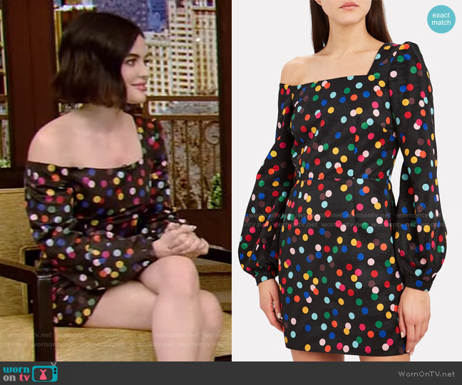 Debbie One-Shoulder Mini Dress by Racil worn by Lucy Hale on Live with Kelly and Ryan