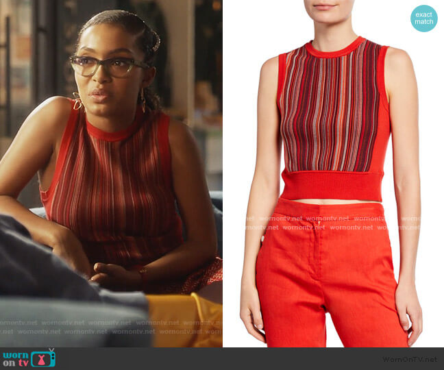 Lisse Striped Crop Tank Top by Rag & Bone worn by Zoey Johnson (Yara Shahidi) on Grown-ish
