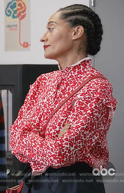 Rainbow's red floral ruffle blouse on Black-ish