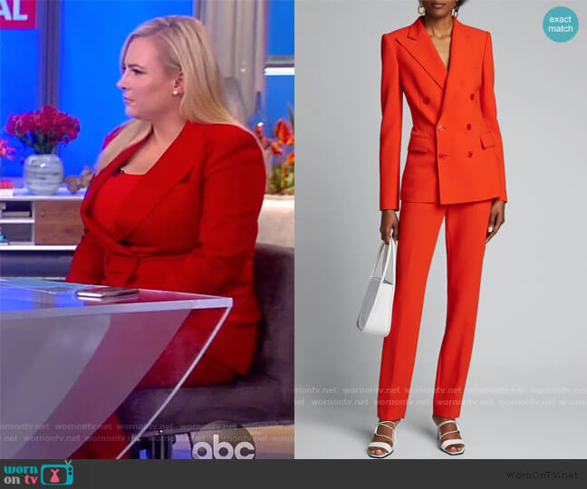 Camden Stretch-Wool Double-Breasted Jacket and Pants by Ralph Lauren worn by Meghan McCain  on The View