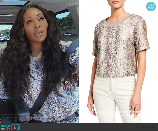 Alexi Sequined Snake-Print Cropped Tee by Ramy Brook worn by Cynthia Bailey  on The Real Housewives of Atlanta