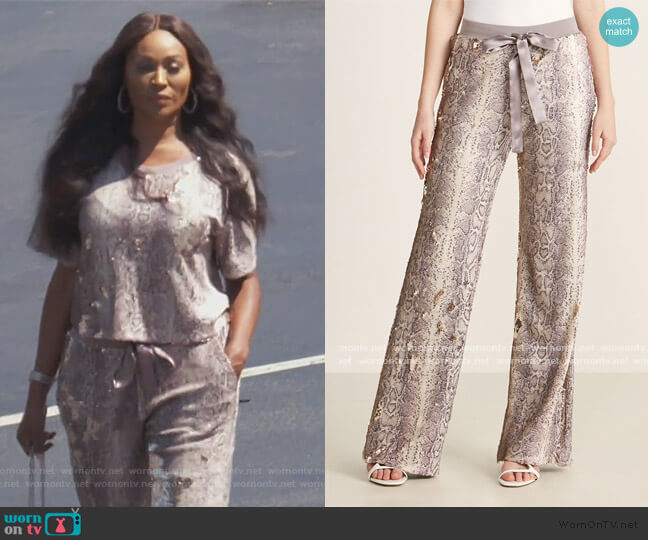 Cyrus Python Sequin Drawstring Pants by Ramy Brook worn by Cynthia Bailey  on The Real Housewives of Atlanta