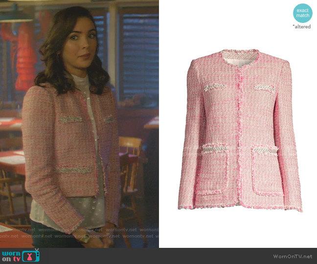 Tonal Fringe Tweed Jacket by Rebecca Taylor worn by Bess (Maddison Jaizani) on Nancy Drew