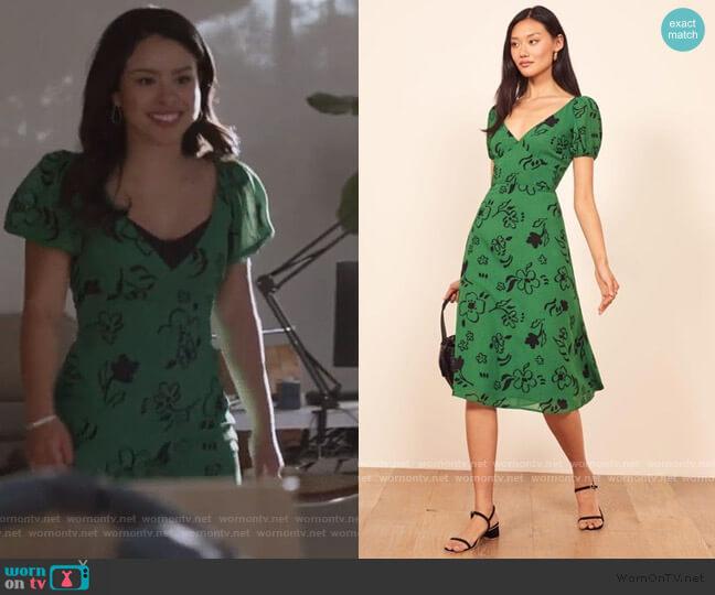 Kacey Print Puff Sleeve Midi Dress by Reformation worn by Mariana Foster (Cierra Ramirez) on Good Trouble
