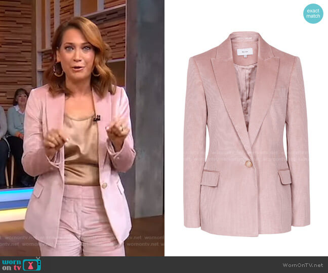 Carie Corduroy Tailored Jacket by Reiss worn by Ginger Zee  on Good Morning America