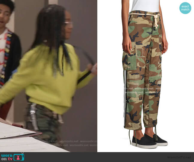 Showboat Sequin Side Camo Pants by Riley worn by Diane Johnson (Marsai Martin) on Blackish