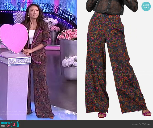 Cora Silk Pants by Robert Graham worn by Jeannie Mai  on The Real