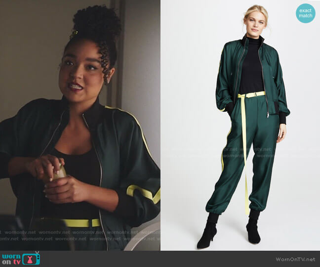 Silk Track Jacket and pants by Robert Rodriguez worn by Kat Edison (Aisha Dee) on The Bold Type