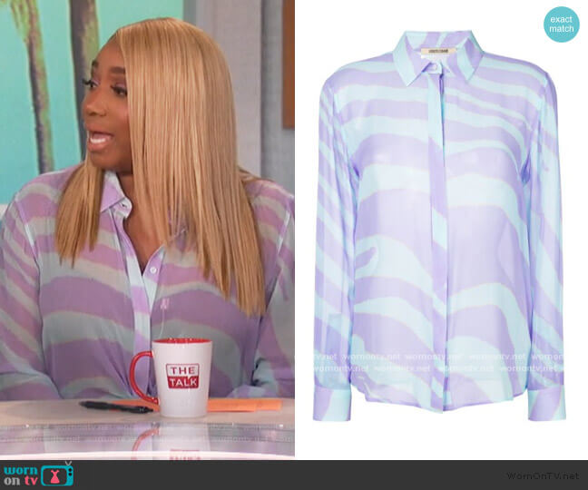Zebra Print Shirt by Roberto Cavalli worn by Nene Leakes on The Talk