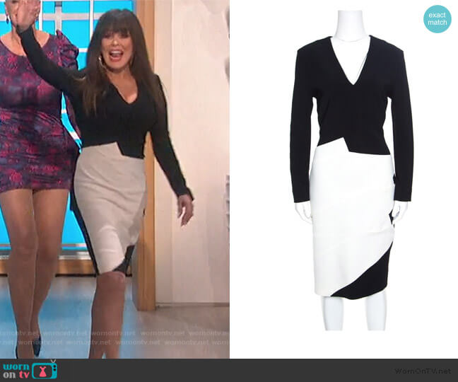 Monochrome Colorblock Dress by Roland Mouret worn by Marie Osmond  on The Talk