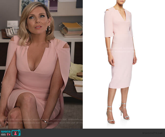 Queensbury Cutout Shoulder Cape Dress by Roland Mouret worn by Grace (Jane Fonda) on Grace & Frankie