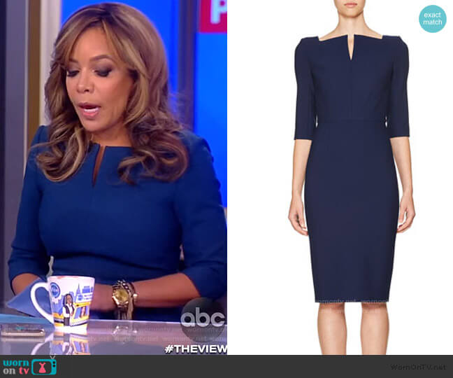3/4-Sleeve Split-Neck Sheath Dress by Roland Mouret worn by Sunny Hostin  on The View