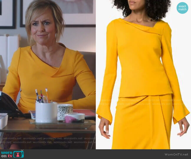 Boronia Asymmetric-Neck Top by Roland Mouret worn by Jacqueline (Melora Hardin) on The Bold Type