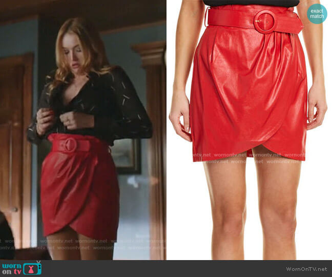 Angela Skirt by Ronny Kobo worn by Kirby Anders (Maddison Brown) on Dynasty