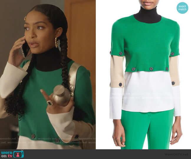 Button-Off Colorblocked Turtleneck Wool Sweater by Rosetta Getty worn by Zoey Johnson (Yara Shahidi) on Grown-ish