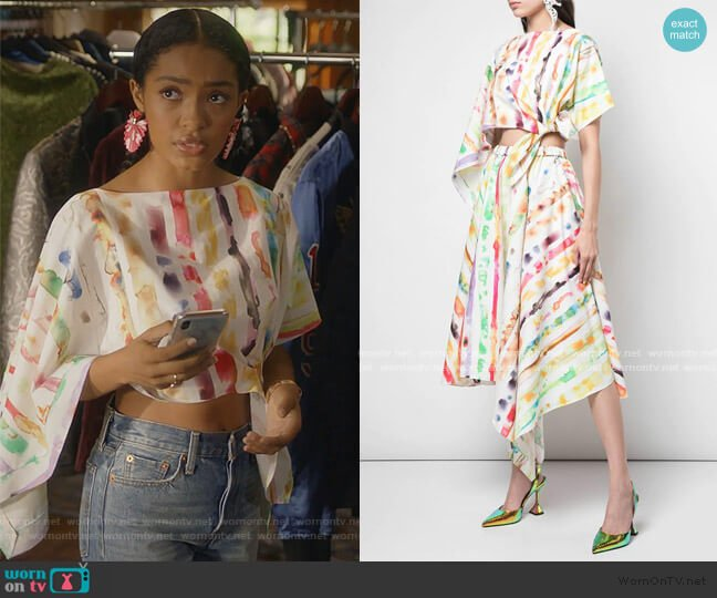 Tie Dyle Print Two-Piece Dress by Rosie Assoulin worn by Zoey Johnson (Yara Shahidi) on Grown-ish