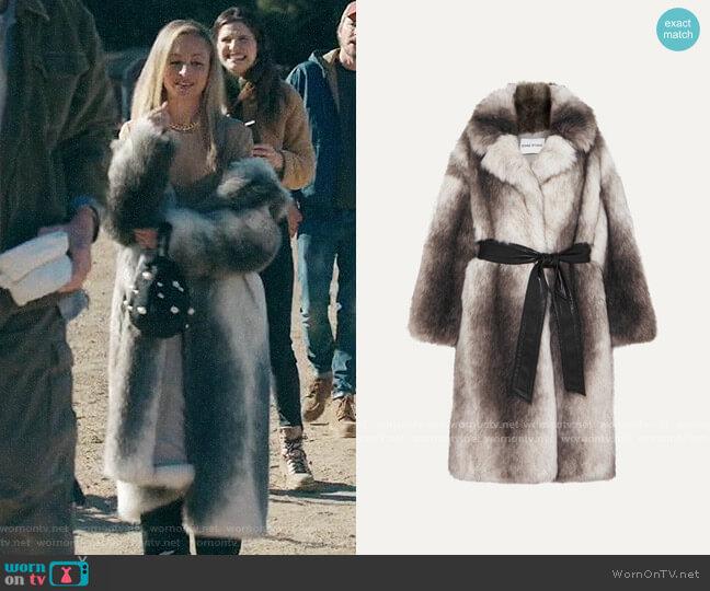 STAND STUDIO+ Pernille Teisbaek Clara oversized belted faux fur coat