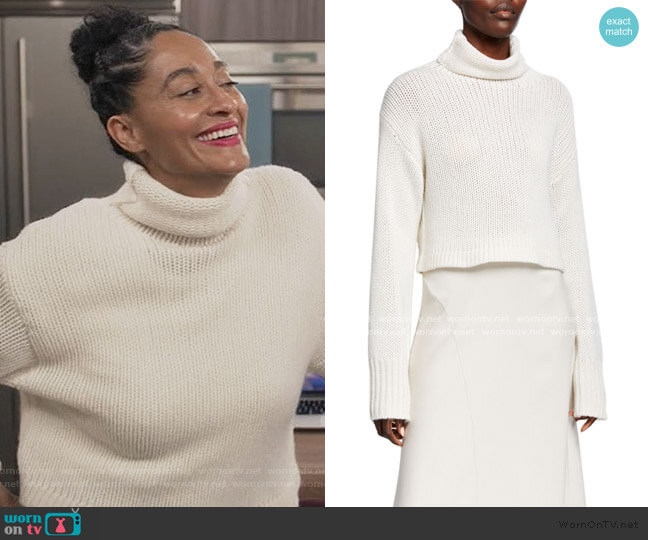 Shay Cropped Cashmere Turtleneck Sweater by Sablyn worn by Rainbow Johnson (Tracee Ellis Ross) on Blackish