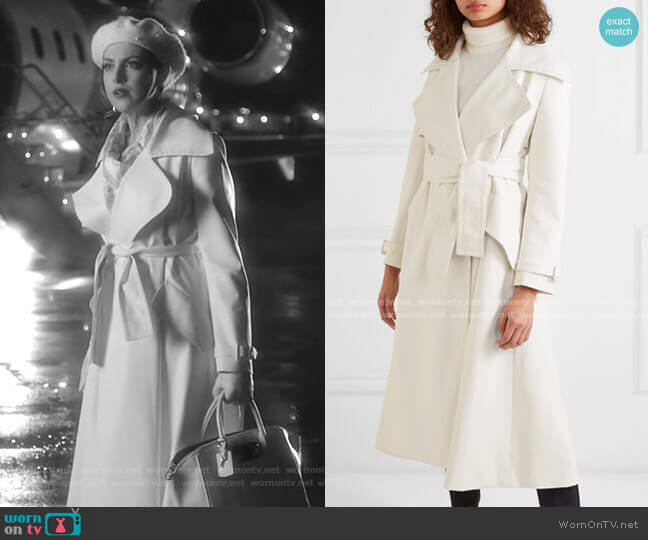 Belted Faux-Leather Trench Coat by Sara Battaglia worn by Fallon Carrington (Elizabeth Gillies) on Dynasty