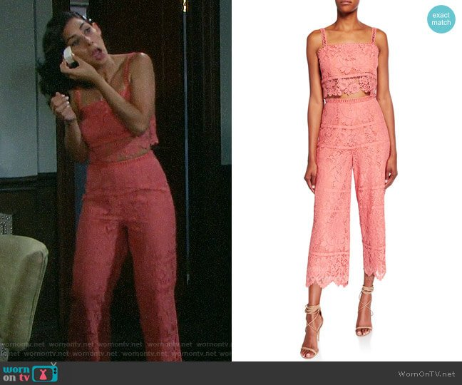 Saylor Willow Bold Floral Lace Set with Crop Top & Cropped Pant worn by Gabi Hernandez (Camila Banus) on Days of our Lives