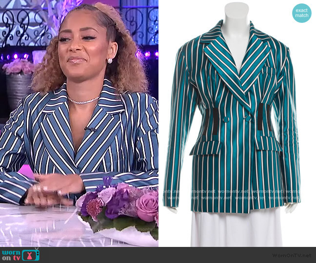 Striped Button-Up Blazer by Self Portrait worn by Amanda Seales  on The Real