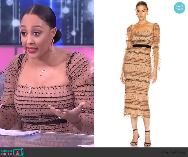 Polka Dot Shirred Dress by Self-Portrait worn by Tamera Mowry  on The Real