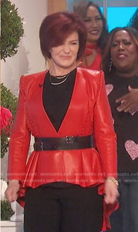 Sharon's red leather asymmetric jacket on The Talk