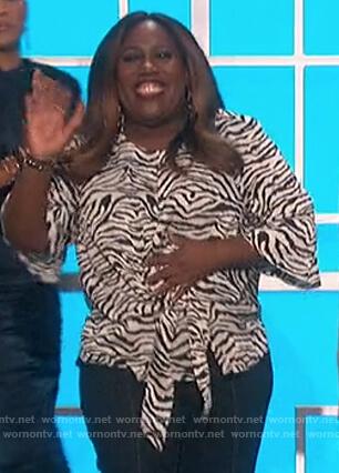Sheryl's zebra stripe tie front blouse on The Talk