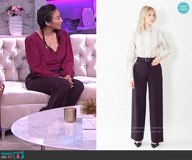 Anouk Pinstripe Belted Pants by Sies Marjan worn by Jeannie Mai  on The Real
