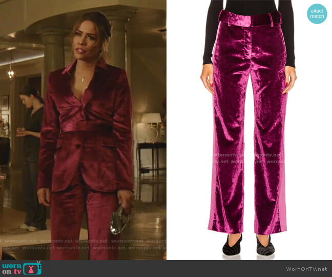 Sonya Crushed-Velvet Pants by Sies Marjan worn by Cristal Jennings (Daniella Alonso) on Dynasty