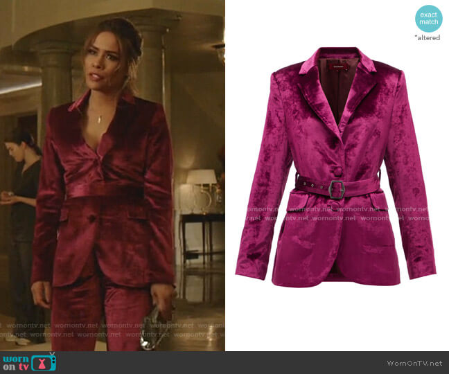 Terry Belted Crushed-Velvet Blazer by Sies Marjan worn by Cristal Jennings (Daniella Alonso) on Dynasty