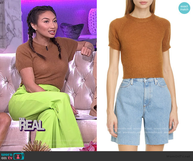 Flinder Short Sleeve Crop Sweater by Simon Miller worn by Jeannie Mai  on The Real
