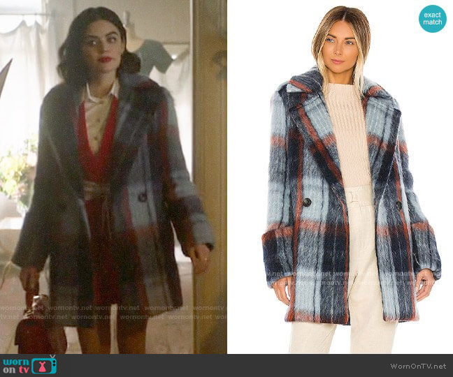 Smythe Car Coat in Mohair Plaid  worn by Katy Keene (Lucy Hale) on Katy Keene