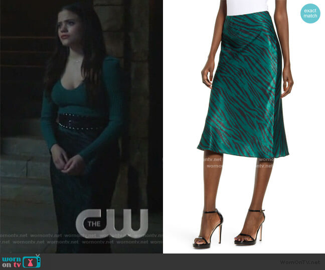 Zebra Print Bias Cut Satin Skirt by Socialite worn by Maggie Vera (Sarah Jeffery) on Charmed