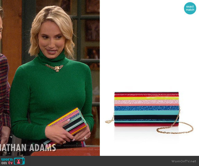 Sondra Roberts Resin Flap Clutch worn by Mandy Baxter (Molly McCook) on Last Man Standing