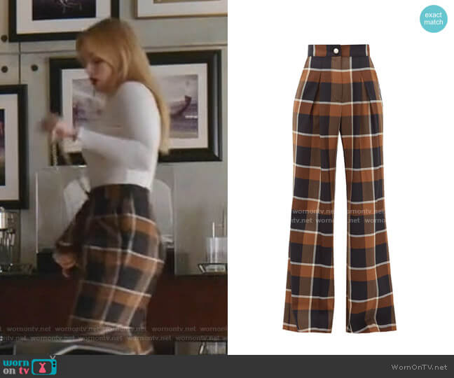 Moon checked wool-blend wide-leg trousers by Staud worn by Kirby Anders (Maddison Brown) on Dynasty