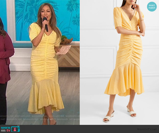 Panier Asymmetric Ruched Gingham Dress by Staud worn by Carrie Inaba  on The Talk