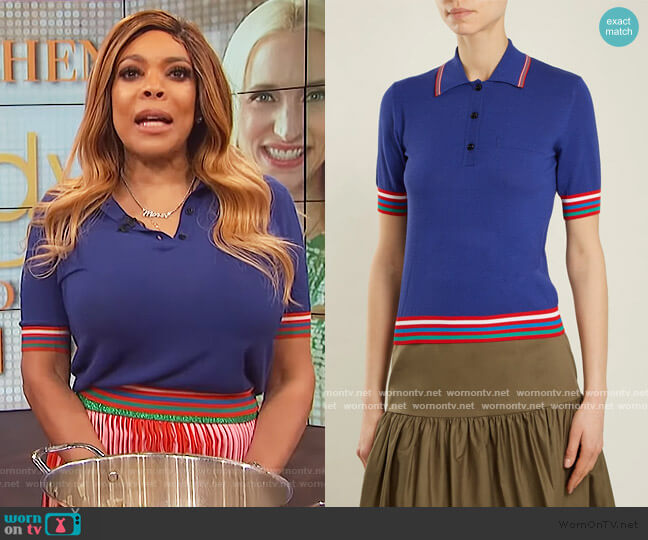 Contrast-striped Knit Polo Shirt by Stella Jean worn by Wendy Williams  on The Wendy Williams Show