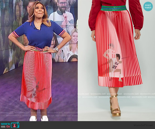 Pleated Fencing Print Midi Skirt by Stella Jean worn by Wendy Williams  on The Wendy Williams Show