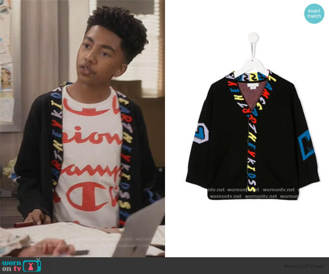 Knitted Alphabet Cardigan by Stella McCartney worn by Jack Johnson (Miles Brown) on Blackish